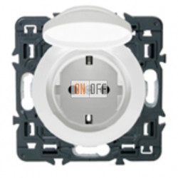 Розетка влагозащищенная  с заземлением с защитными шторками и крышкой (белый) 67153 - 67841 - 80251
