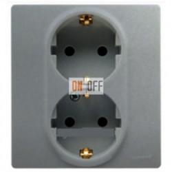 Розетка двойная электрическая Etika Plus с заземлением со шторками, безвинтовые зажимы (алюминий) 672433