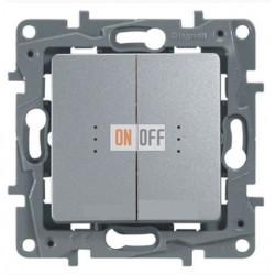 Выключатель-переключатель двухклавишный с подсветкой 10АХ (алюминий) 672416