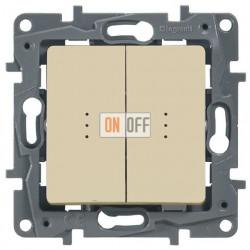 Выключатель-переключатель двухклавишный с подсветкой авт 10АХ (слоновая кость) 672316