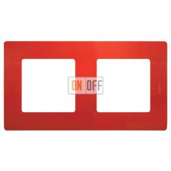 Двухместная рамка Legrand Etika красная 672532