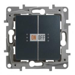 Legrand Etika Антрацит Выключатель 2-клавишный с подсветкой/индикацией, авт.клеммы, 10 AX, 250 В 672604
