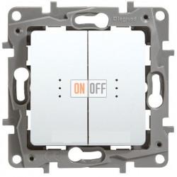 Выключатель-переключатель двухклавишный с подсветкой 10АХ (белый) 672216
