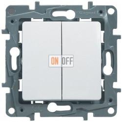 Выключатель-переключатель двухклавишный на зажимах 10AX Etika Plus (белый) 672212