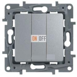 Выключатель трехклавишный на винтах 10АХ Etika Plus (алюминий) 672413