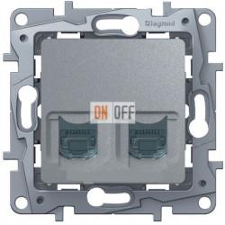 Розетка телефонна + компьютерная RJ45 кат. 5 UTP Etika (алюминий) 672452