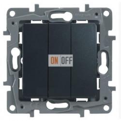 Выключатель трехклавишный на винтах 10АХ Etika Plus (антрацит) 672613