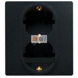 Розетка двойная электрическая Etika Plus с заземлением со шторками, безвинтовые зажимы (антрацит) 672633