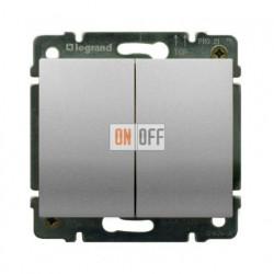 Выключатель двухклавишный, проходной (вкл/выкл с 2-х мест) с подсветкой 10А Legrand Galea Life (алюминий) 771379 - 775608
