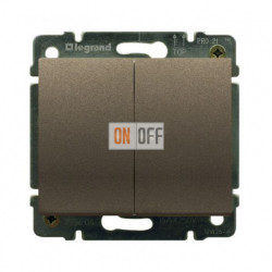Выключатель двухклавишный, проходной (вкл/выкл с 2-х мест) с подсветкой 10А Legrand Galea Life (темная бронза) 771279 - 775608
