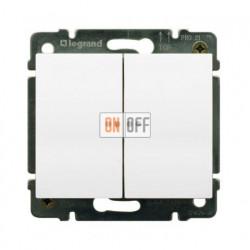 Выключатель двухклавишный, проходной (вкл/выкл с 2-х мест) с подсветкой 10А Legrand Galea Life (белый) 771079 - 775608