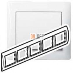 Рамка пятерная, для горизонтального монтажа Legrand Galea Life, белый глянцевый 771005