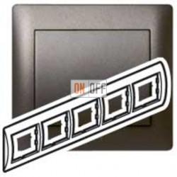 Рамка пятерная, для горизонтального монтажа Legrand Galea Life, темная бронза 771205