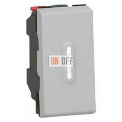 Выключатель Mosaic с подсветкой для управления с двух мест 10AХ (1 модуль) алюминий 79202 - 67686