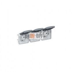 Блок горизонтальный из 3-х розеток с заземлением безвинтовой зажим 16 A, 250 В IP55 Legrand Plexo, серый 69578