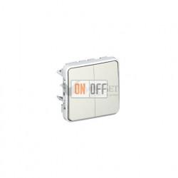 Двухклавишный выключатель-переключатель с подсветкой 10А IP55 Legrand Plexo, белый 69626