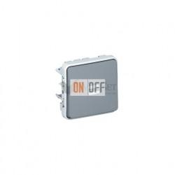 Кнопочный выключатель с подсветкой, Н.О. контакт 10А IP55 Legrand Plexo, серый 69542