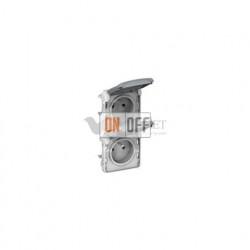 Блок вертикальный из 2-х розеток с заземлением безвинтовой зажим 16 A, 250 В IP55 Legrand Plexo, серый 69577