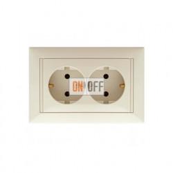Розетка двойная (моноблок) с заземлением, кремовый глянцевый 774370