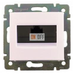 Розетка компьютерная одинарная RJ45 5-й экранированная, на захватах, белый глянец 774230
