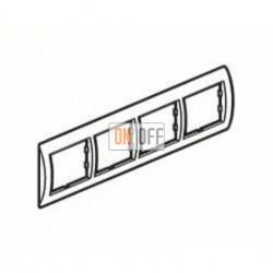 Рамка четверная, для горизонтального монтажа Legrand Valena, белый глянец/серебро 770494