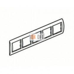 Рамка пятерная, для горизонтального монтажа Legrand Valena, белый глянец/серебро 770495