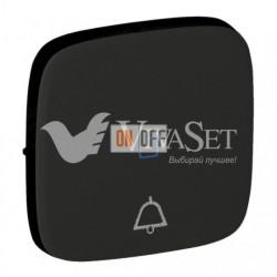 Кнопочный выключатель с символом звонок c подсветкой  6 A - 250 В, Valena Allure матовый черный 752011 - 67686 - 755093