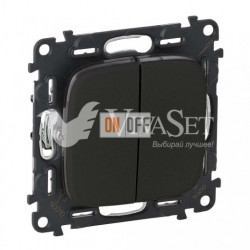 Выключатель двухклавишный  10 AX - 250 В, Valena Allure матовый черный 752005 - 755028