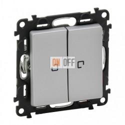 Двухклавишный кнопочный выключатель с подсветкой 6 A - 250 В, Valena Life алюминий 752018 - 67686 - 67686 - 755222
