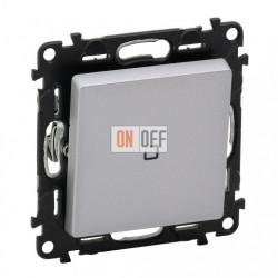 Кнопочный выключатель с подсветкой 6 A - 250 В, Valena Life алюминий 752011 - 67686 - 755102
