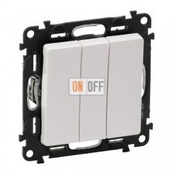 Выключатель трехклавишный  10 AX - 250 В, Valena Life белый 752003 - 755030