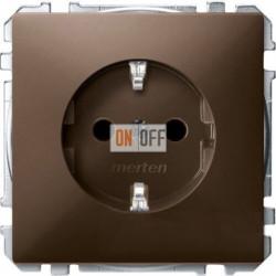 Розетка с заземляющими контактами 16 А / 250 В~ с защитой от детей, цвет коричневый MTN2300-4015
