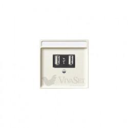 Розетка USB двойная для зарядки, кремовый глянцевый MTN4366-0000 - MTN297844