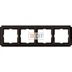 Рамка четверная Merten Antique, коричневая MTN4040-4715