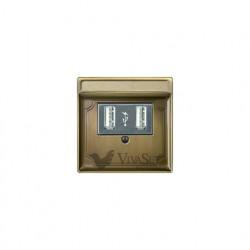Розетка USB двойная для зарядки, античная латунь MTN4366-0000 - MTN297843