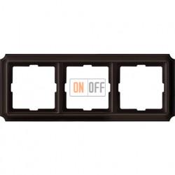 Рамка тройная Merten Antique, коричневая MTN4030-4715
