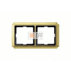 Рамка двойная, для горизон./вертикал. монтажа Merten Antique, блестящая латунь MTN483221