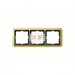 Рамка тройная, для горизон./вертикал. монтажа Merten Antique, блестящая латунь MTN483321
