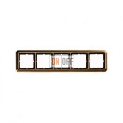 Рамка пятерная, для горизон./вертикал. монтажа Merten Antique, античная латунь MTN483543