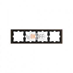 Рамка четверная Merten D-life мокко металл MTN4040-6552