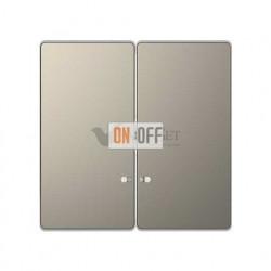 Выключатель двухклавишный с подсветкой, 10 А / 250 В~ Merten D-life, никель металл MTN3135-0000 - MTN3420-6050