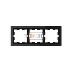 Рамка тройная Merten D-life черный оникс, стекло MTN4030-6503
