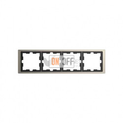 Рамка четверная Merten D-life никель металл MTN4040-6550