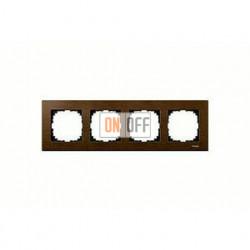 Рамка четверная, для горизон./вертикал. монтажа Merten M-Elegance, орех MTN4054-3473