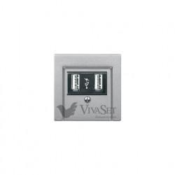 Розетка USB двойная для зарядки, алюминий MTN4366-0100 - MTN297960