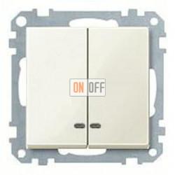 Выключатель двухклавишный с подсветкой, 10 А / 250 В~ MTN3135-0000 - MTN3420-0344