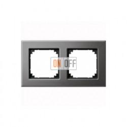 Рамка двойная, для горизон./вертикал. монтажа Merten M-Elegance, серый родий MTN403214