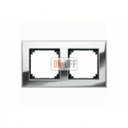 Рамка двойная, для горизон./вертикал. монтажа Merten M-Elegance, хром MTN403239