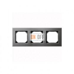 Рамка тройная, для горизон./вертикал. монтажа Merten M-Elegance, серый родий MTN403314