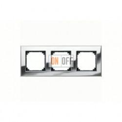 Рамка тройная, для горизон./вертикал. монтажа Merten M-Elegance, хром MTN403339